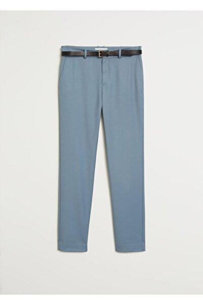 Kadın Gök Mavisi Kemerli Kumaş Pantolon 77030108