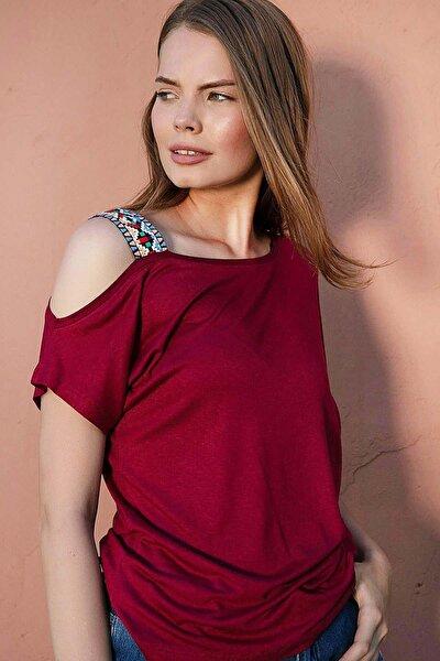Kadın Tek Omuz Açık Tişört Y20s169-1171