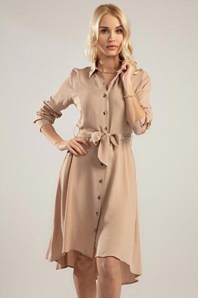 Kadın Bej Düğmeli Kuşaklı Uzun Kollu Elbise PTTY20S-671