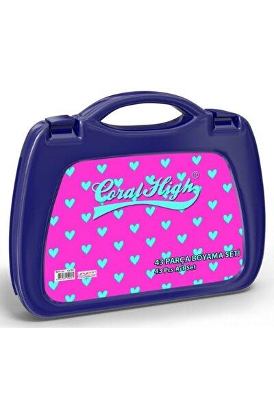 Coral High Kız Çocuk Pembe Kalp Baskılı Boyama Seti (43 Parça)