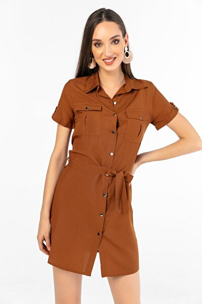 Kadın Kahve Kısa Kol Beli Kuşaklı Düğmeli Elbise S-20Y0250016