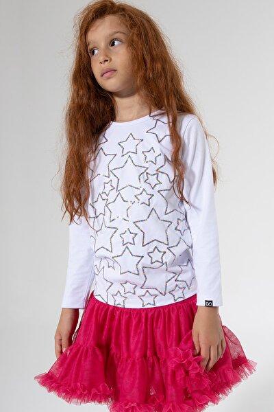 Stars Payetli Sweatshirt Beyaz