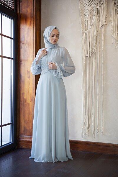 Çağla Düğüm Detaylı Şifon Elbise