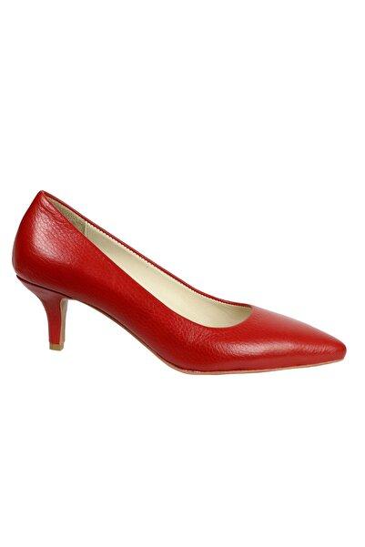 Kadın Kırmızı Hakiki Deri Topuklu Ayakkabı