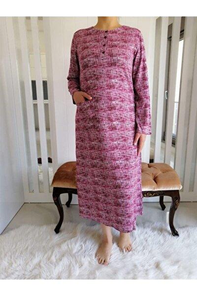 Kadın Bordo Uzun Kol Ev Elbisesi