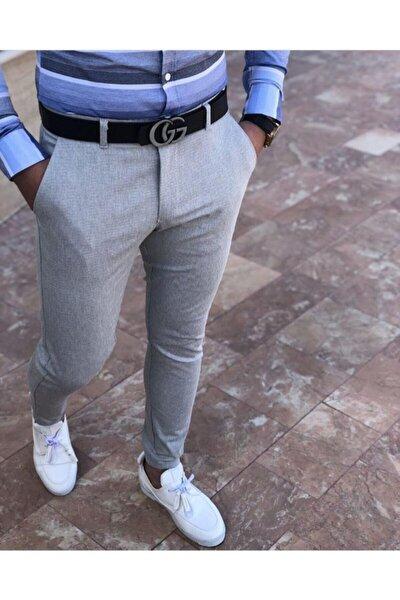 Erkek Gri Keten Pantolon