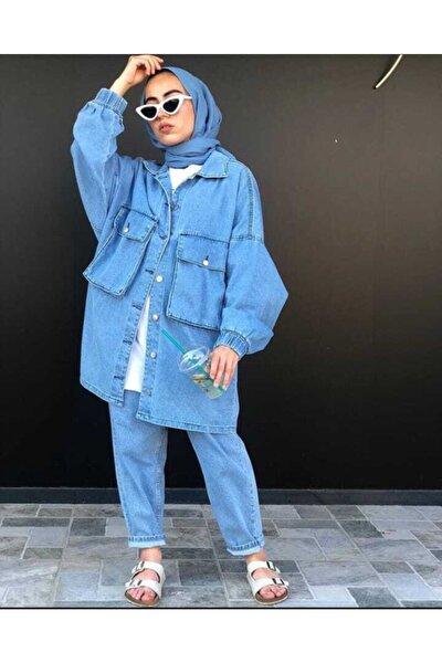 Kadın Mavi Torba Cep Oversize Ceket