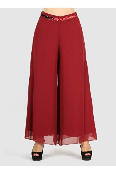 Kadın Bordo Etek Görünümlü Bol Paça Şifon Pantolon