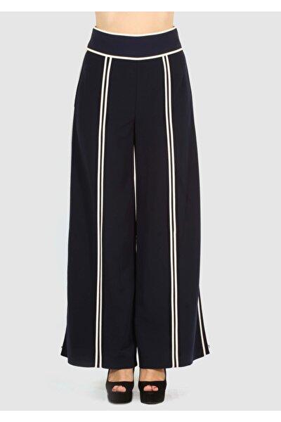Kadın Siyah Bol Paça Tasarım Pantolon