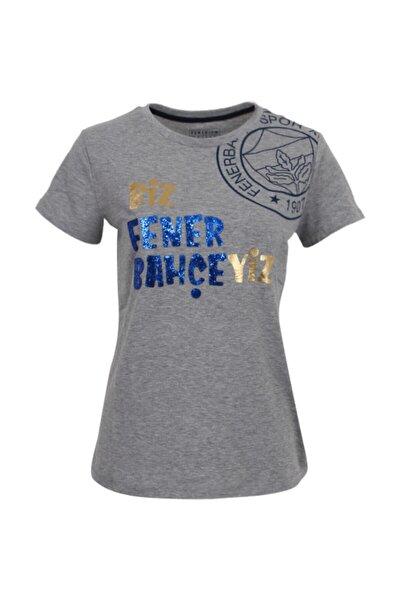 Kadın Gri Simli Yazılı T-shirt