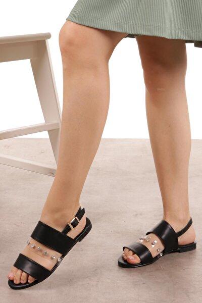 Denise Siyah Taşlı Sandalet