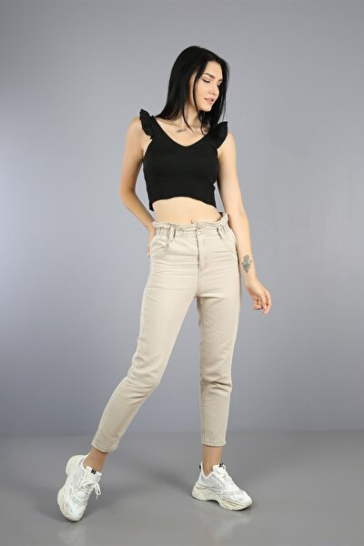 Kadın Bej Beli Lastikli Düğmeli Mom Jeans