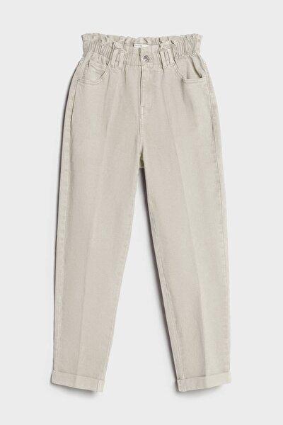 Kadın Bej Elastik Belli Pantolon