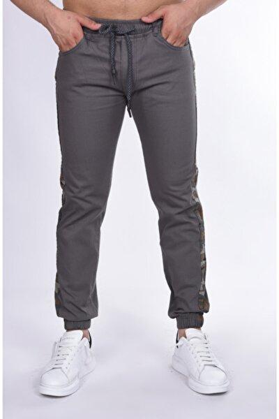 Erkek Füme Yanı Kamuflajlı Armürlü Paça Ve Bel Lastikli Pantolon