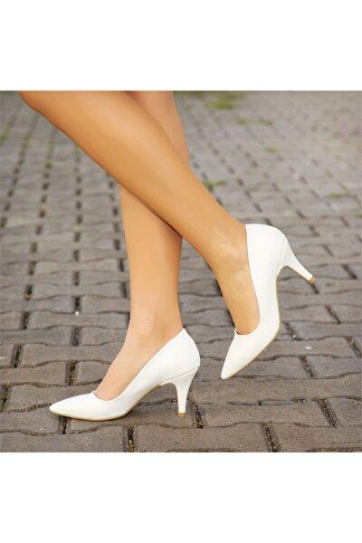 Kadın Beyaz   Hakiki Deri Topuklu Ayakkabı