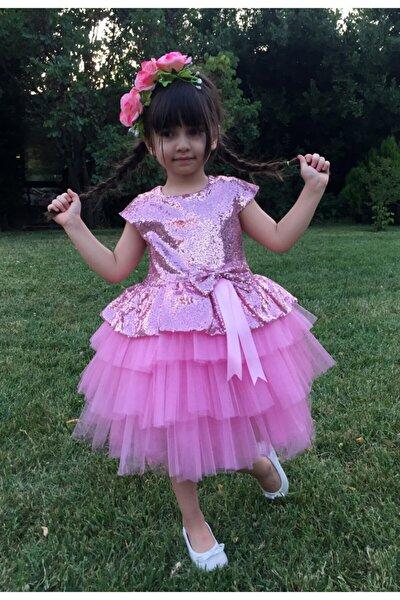 Kız Çocuk Pembe Tüllü Abiye Elbise