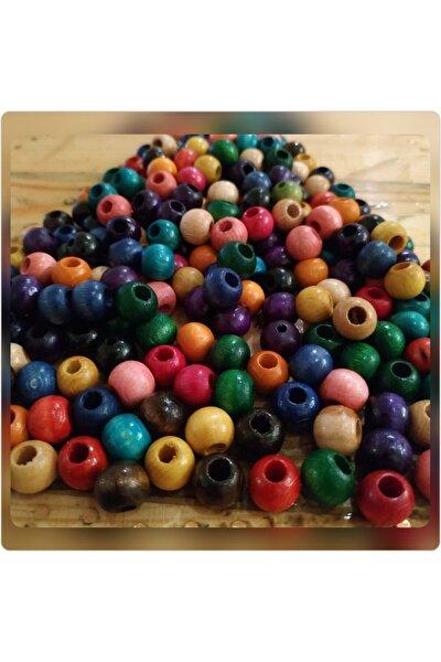 Renkli Ahşap Boncuk , 10 mm yuvarlak , 100 Gr (320 Adet)