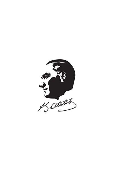 İmzalı Atatürk Silüet Oto Sticker 15 cm x 20 cm