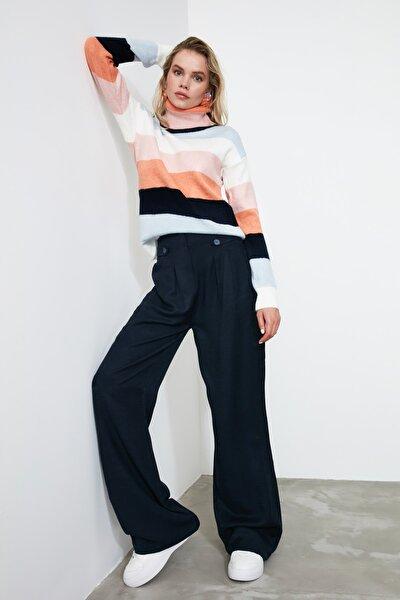 Lacivert Düğme Detaylı Pantolon TWOAW21PL0027
