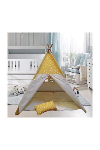 Sarı Yıldız Ahşap Çocuk Çadırı Kızılderili Çadırı Oyun Evi Oyun Çadırı Kamp Çadırı Rüya Ev
