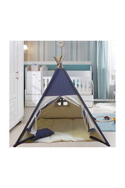 Lacivert Puantiye Ahşap Çocuk Çadırı Kızılderili Çadırı Oyun Evi Oyun Çadırı Kamp Çadırı Rüya Ev