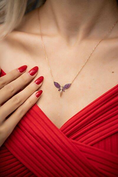 Yusufçuk Model Rose Kaplama Gümüş Kolye