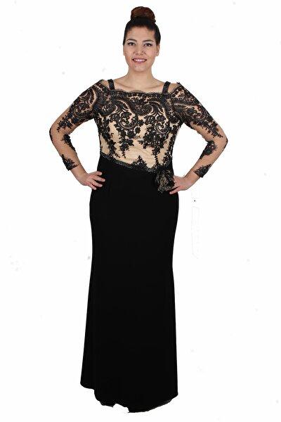 Kadın Siyah Uzun Kollu Abiye Elbise GZN14175