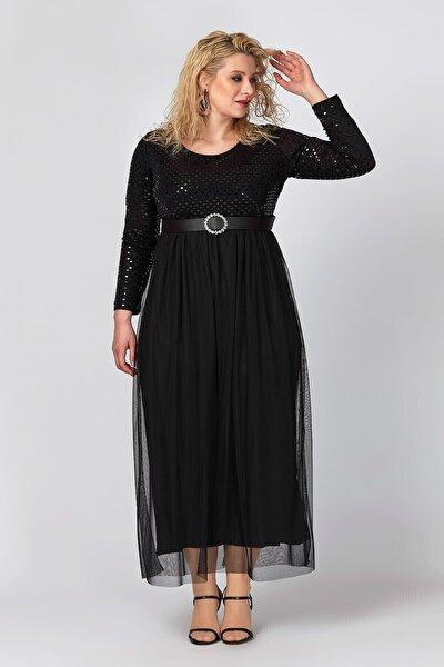 Kadın Siyah Tül Ve Payet Detaylı Abiye Elbise