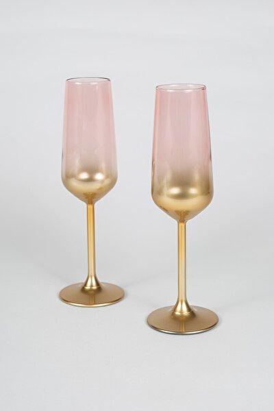 Glow 2'li Şampanya Kadehi Seti Pembe 195 cc