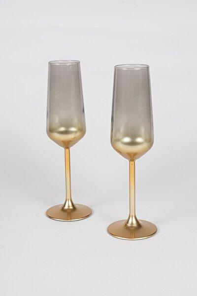 Glow 2'li Şampanya Kadehi Seti Füme 195 cc
