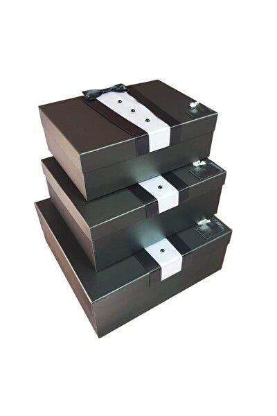 Siyah 3'lü Damat Figürlü Smokin Çeyiz Kutuları