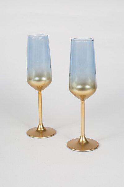 Glow 2'li Şampanya Kadehi Seti Mavi 195 cc
