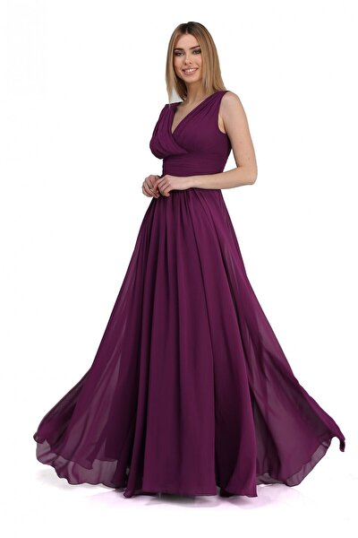 Kadın Mürdüm Şifon V Yaka Uzun Abiye Elbise PC54506