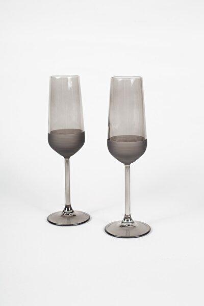 Matte 2'li Şampanya Kadehi Seti Füme 195 Cc