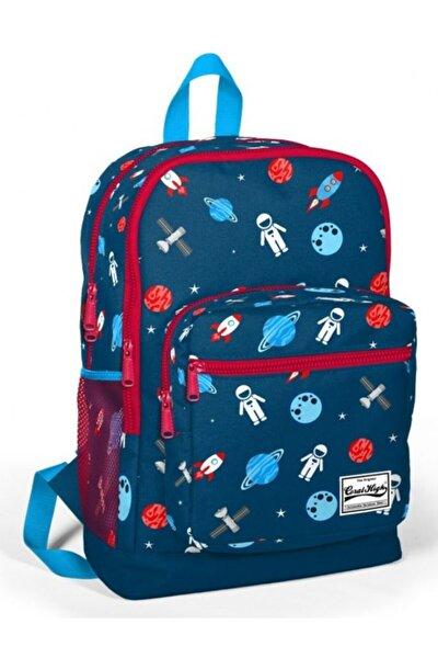 Coral High Erkek Çocuk Ilkokul Çantası - Lacivert-kırmızı Astronot Baskılı Dört Bölmeli
