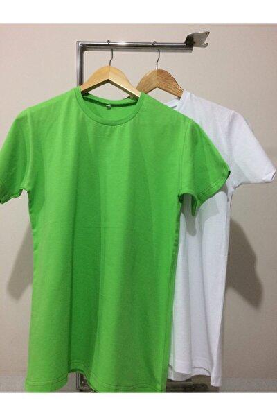 Unisex Açık Yeşil / Beyaz 2'li Sıfır Yaka Desensiz T-shirt