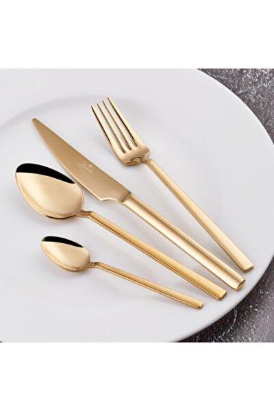 1800 24 Parça 6 Kişilik Titanyum Gold Tatlı Çatal Kaşık Bıçak Seti