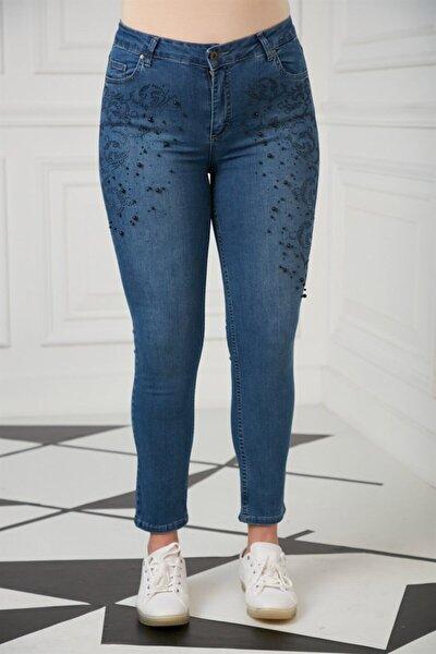 Kadın Mavi Taş Detaylı Büyük Beden Pantolon