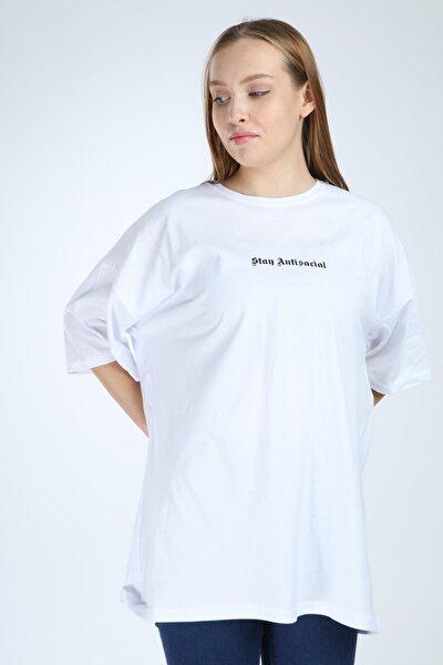 Kadın Beyaz Stay Antisocial Baskılı Oversize Tshirt