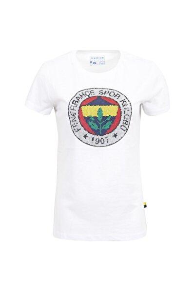 Kadın Beyaz Mozaik Logo Baskı T-shirt