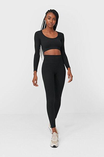Kadın Siyah Dikişsiz Crop Top 06761556