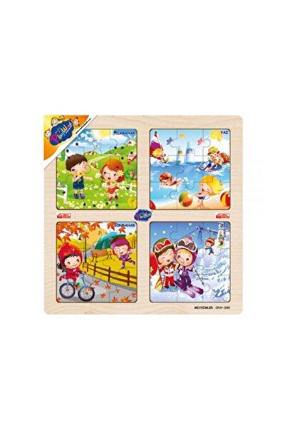 Ahşap Eğitici 4'lü Çocuk Bebek Puzzle Oyun Mevsimleri Öğreniyorum