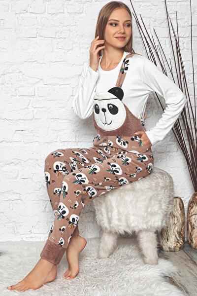 Panda Desenli Kadın Bahçıvan Polar Peluş Tulum Pijama Takımı