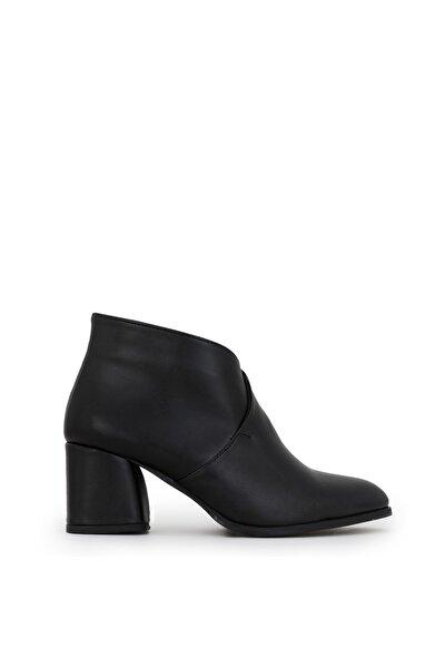 Kadın Siyah Marına Topuklu Bot Siyah