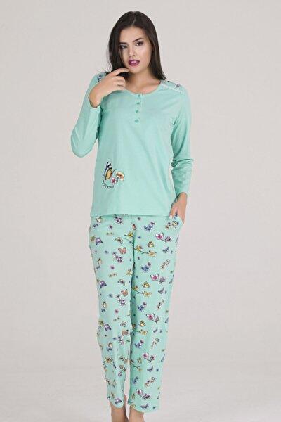 Kadın Mint Yeşili 4 Düğmeli Kelebek Nakışlı Omzu Dantelli Örme Pijama Takımı