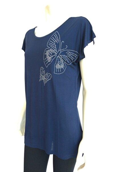 Kadın Lacivert Kelebek T-shirt