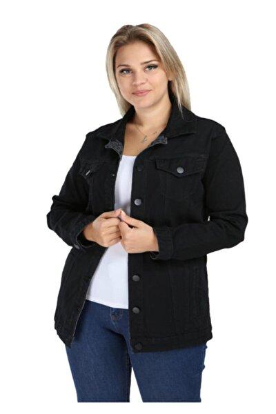 Kadın Siyah Düğme Detaylı Jean Ceket