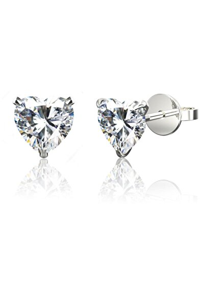 Silver Unisex Tek Taş Kalp Beckham Ithal Rodyumlu Gümüş Küpe