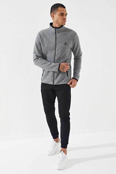 Erkek Gri Melanj Yakalı Polar Sweatshirt 87270