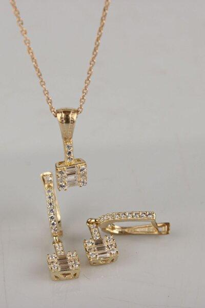 925 Ayar Gümüş Baget Taşlı Gold Renk Küpe Ve Kolye Takım